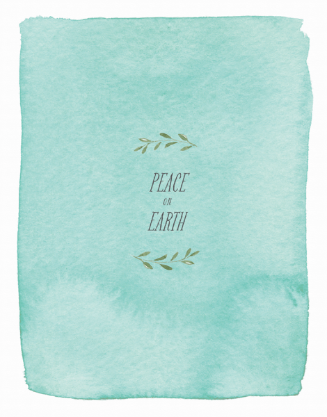turquoise watercolored peace on earth greeting