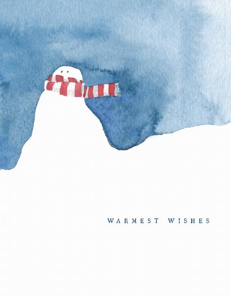 warmest wishes snowman greeting card