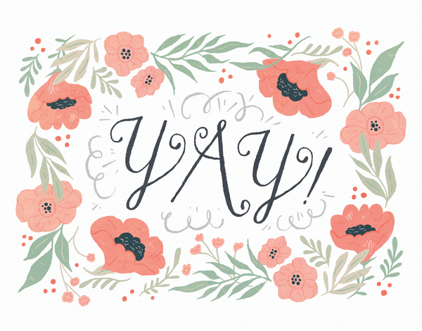Floral yay note card