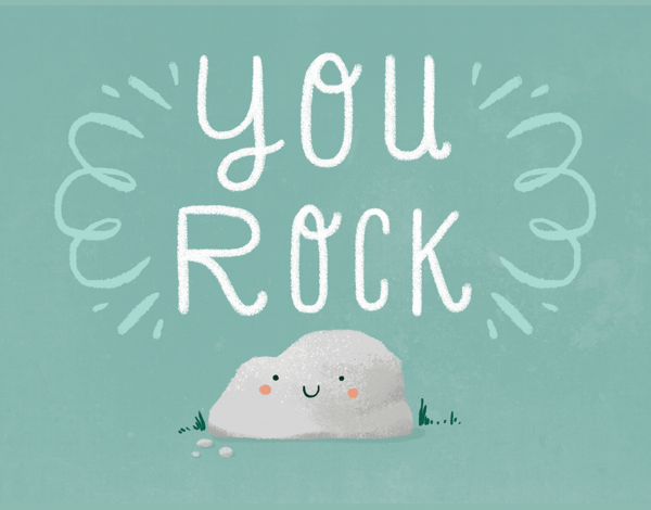 Adorable Pun You Rock Congrats Card