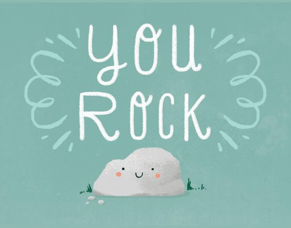 Adorable Pun You Rock Congrats Card