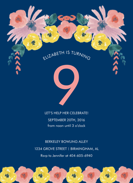 Navy Floral Birthday