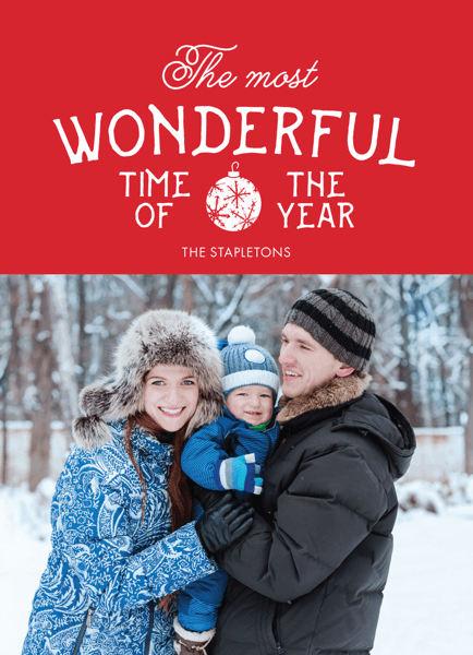 red wonderful time of the year photo holiday template
