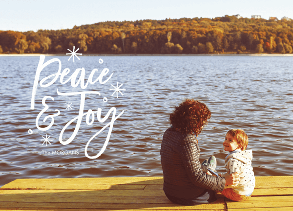 photo holiday card with peace and joy script