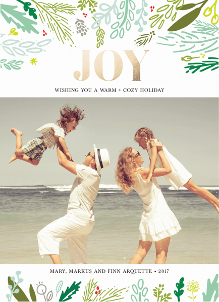 bold joy holiday card with floral branches