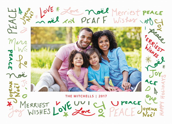 peace love joy graffitti holiday photo card
