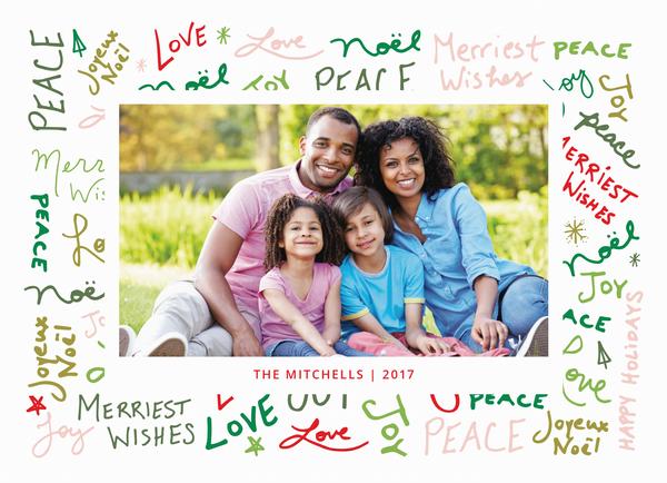 peace love joy graffitti holiday photo card