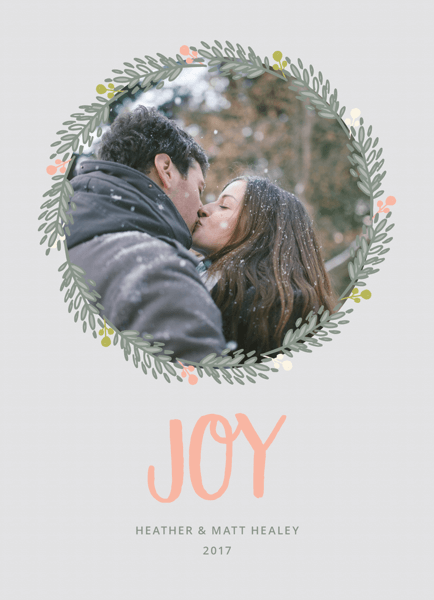 lovely gray photo holiday card with wreath border
