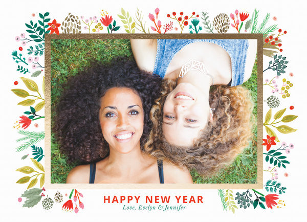 Sweet Floral New Year Frame