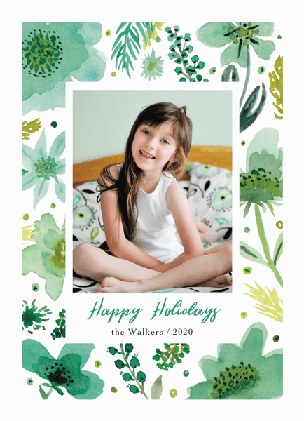 Green Happy Holidays Florals