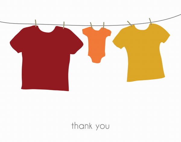 Clothesline Baby Thank You card