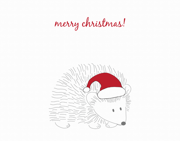 Hedgehog Merry Christmas Card