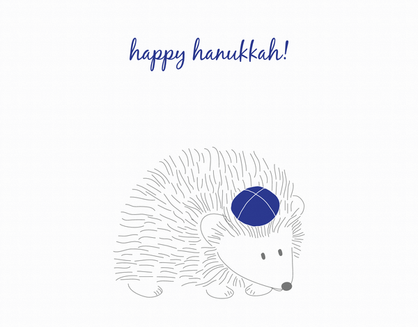 Hedgehog Happy Hanukkah card