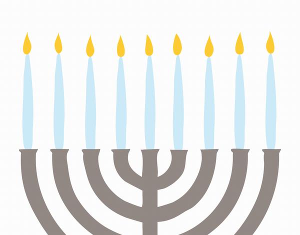 Painted Menorah Happy Hanukkah Card