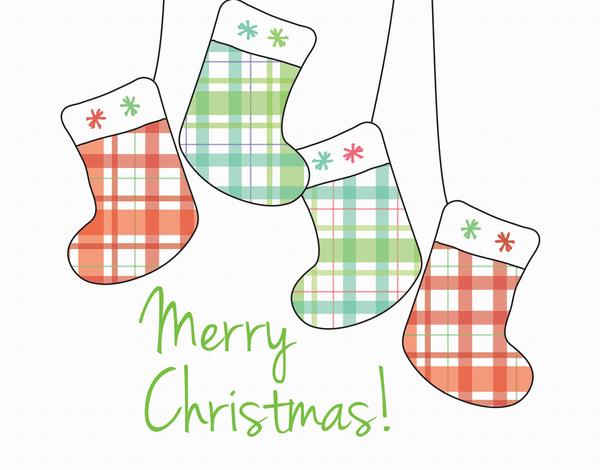 Plaid Stockings Merry Christmas Card