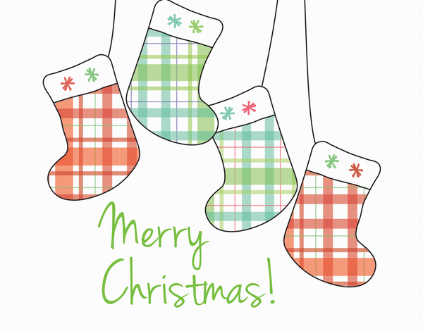 Plaid Stockings Merry Christmas Card