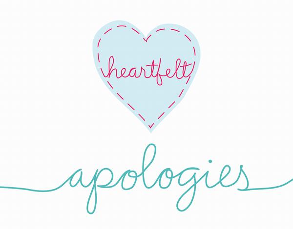 Heartfelt Apologies I'm sorry Card