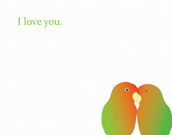 I Love You Love Birds Valentines Day Card
