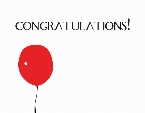 Red Balloon Congratulations Card