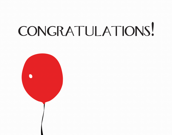 Red Balloon Congratulations Card