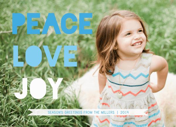 Peace Love Joy blue photo holiday card