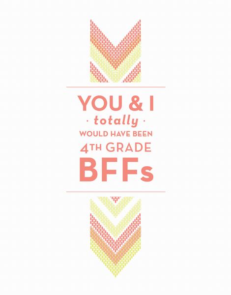 4th Grade BFFs Friend Card