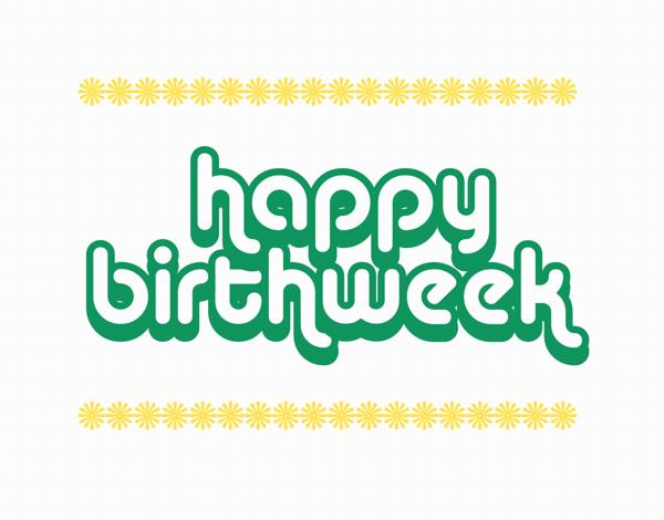 Retro Happy Birth week Card