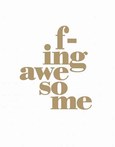 Simple F in Awesome I Love You Card