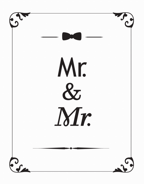 Classic Mr. And Mr. Wedding Thank You Card