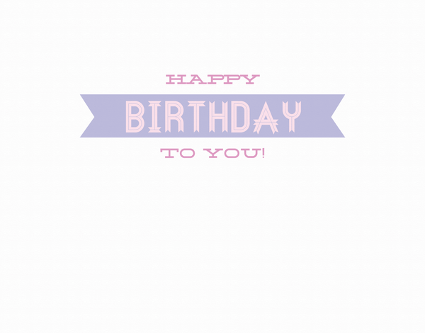 Simple Purple Ribbon Birthday Card