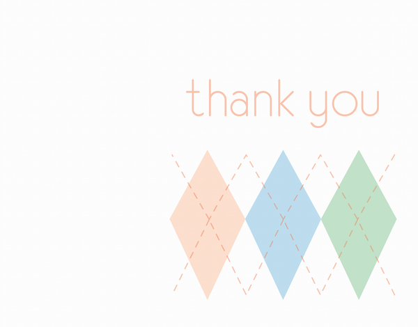 Pastel Argyle Thank You Card