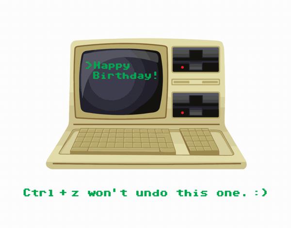 Old School Computer Birthday Card