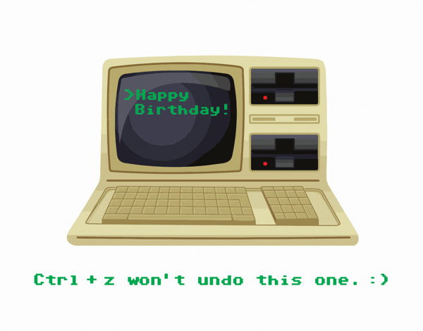 Old School Computer Birthday Card
