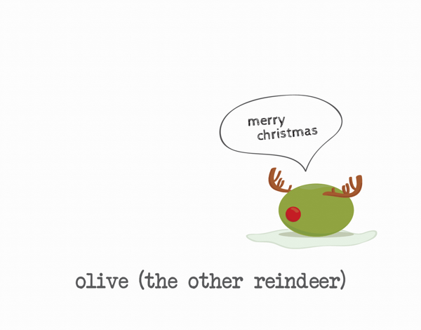 Quirky Olive Reindeer Christmas Card