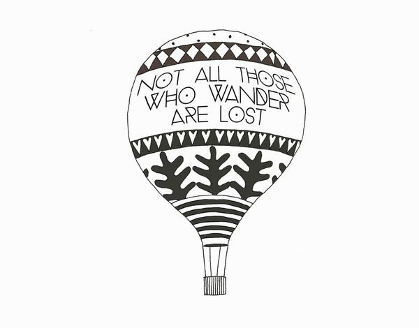 Black and White Wanderlust Greeting Card