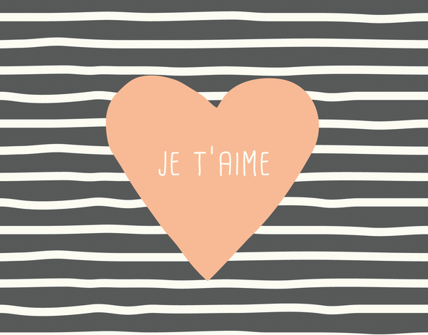 Pretty Je t'aime love card