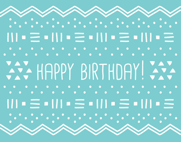Geometric Blue Birthday Greeting Card