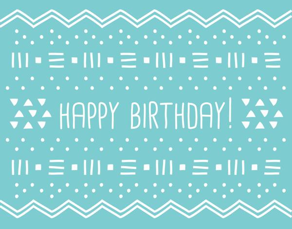 Geometric Blue Birthday Greeting Card