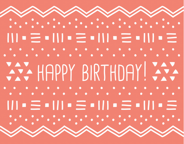 Geometric Red Birthday Card