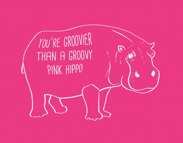 Pink Groovy Hippo Love Card