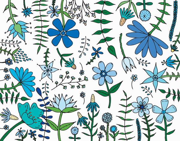 Blue Garden Flowers Stationery