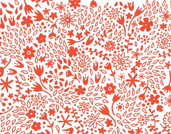 Floral patterned tangerine stationery