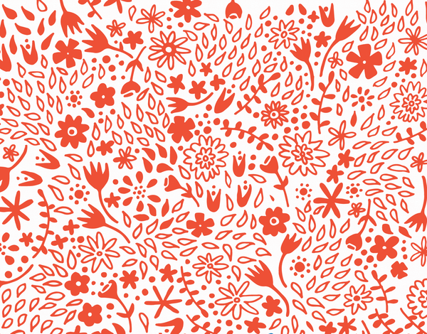 Floral patterned tangerine stationery