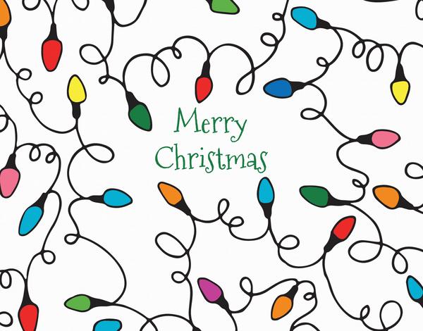 Colorful Christmas Lights Holiday Card