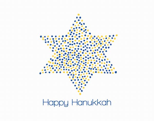 Dotted Star of David Happy Hanukkah Card