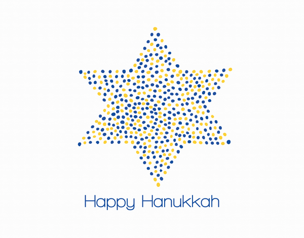 Dotted Star of David Happy Hanukkah Card