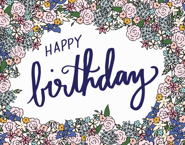 Flower border Happy Birthday Card