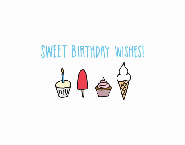 Sweet Ice cream birthday wishes card