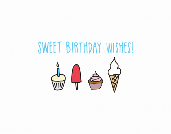 Sweet Ice cream birthday wishes card