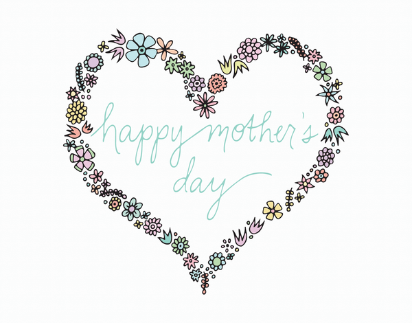 Pretty floral heart wreath mother's day card